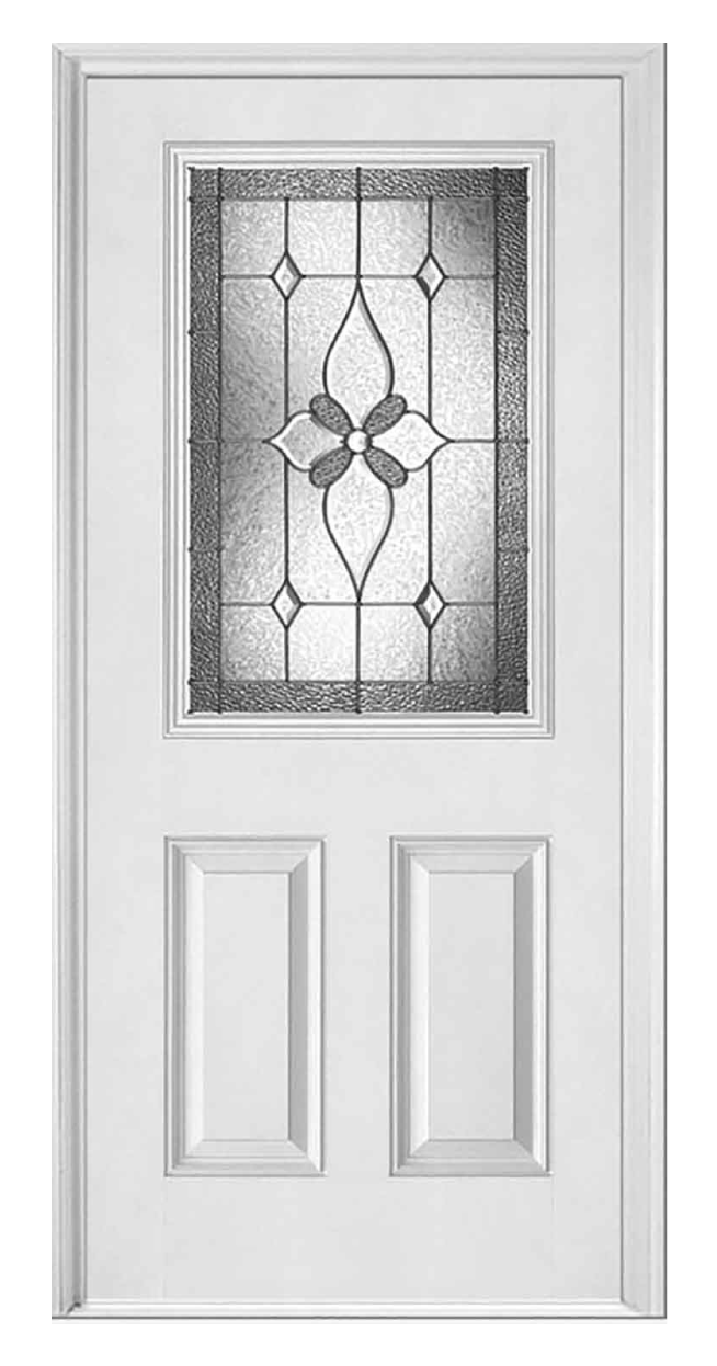 Provence steel entry door with decorative glass window