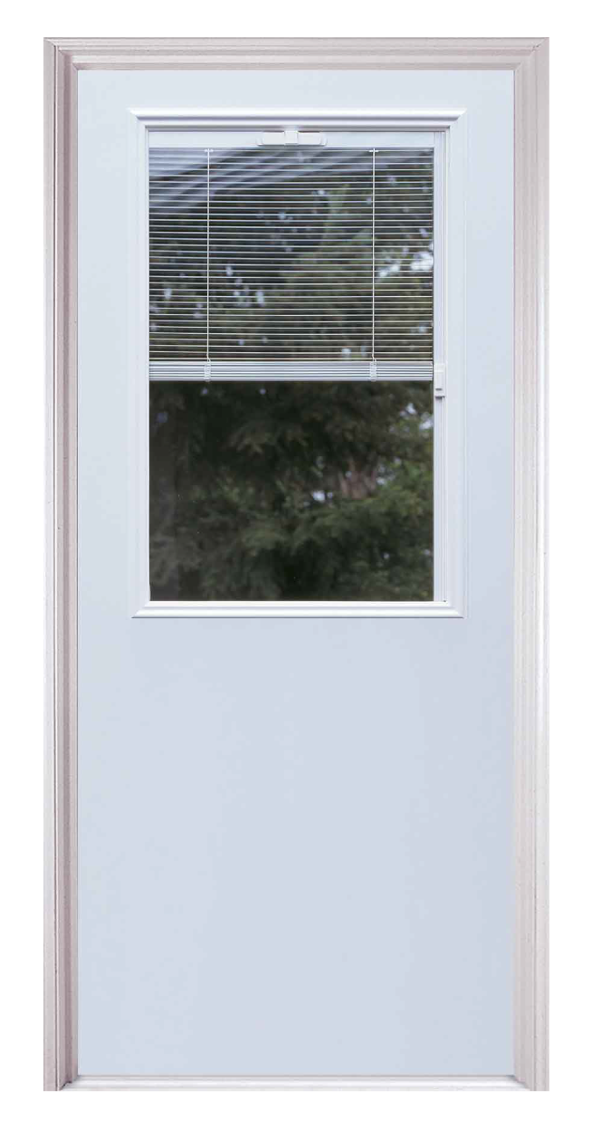 Traditional entry door with rectangular window showcasing miniblinds