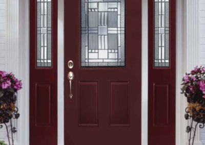 External view of Lehigh entry door with side lites.