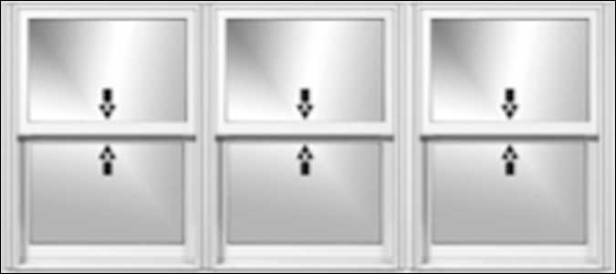 Three Equal Sized Oxford Double Hung Windows
