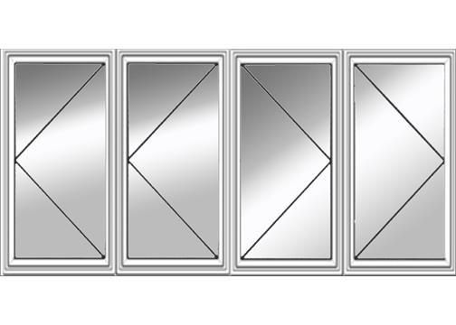 Four Bristol Casement Windows Left And Right