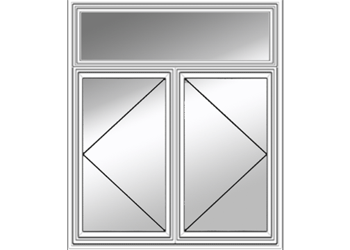 Two Bristol Casement Windows With One Transom