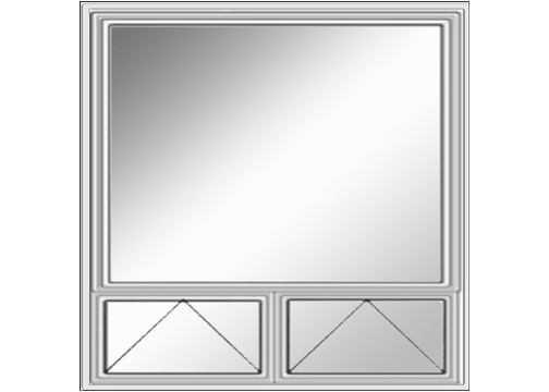 Transom layout of two small windows below a large window