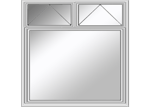 Transom layout of two small windows over a large window