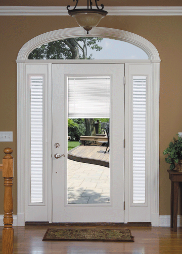 Internal view of Traditional Steel Entry Door with sidelites and transom